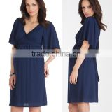 hot sale wholesale clothing for pregnant navy flutter sleeve pregnant women dresses