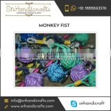 Metallic Finish Monkey Fist Nautical Rope Keychain Available from Bulk Manufacturer