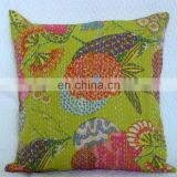 "16"" Indian floral Printed Home Decorative Traditional Kantha Cushion Pillow Cover Handmade Embroidery Work Throw Light Green"