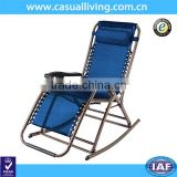 Zero Gravity Rocking Chair Outdoor Lounge Patio Folding Reclining Chair -Navy Blue