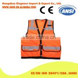 Orange Color Mesh FABRIC high Quality Metal Button Closure Vest