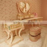 French style wooden carved & handmade painted antique vanity makeup dresser with mirror - BF07-70038D