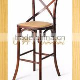 hot sale wood Cross back bar stool high chair and high back chair