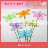 Artificial nylon bead dragonfly garden stick,silk insect stick