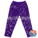 Purple Knit Cotton Sequins Sparkly girl tight leggings pants Wholesale baby girl leggings