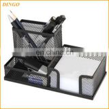 Hot Sale New Design Desktop Storage Metal Wire Mesh Pen Cup Clip Holder Office Stationery Set For Retail