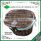 Vintage removable hand woven wicker bike basket with lid