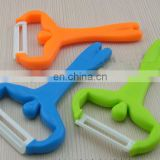 ABS plastic handle ceramics head pare peel cutter tool /peeler/zester for safe kitchware