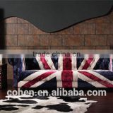 2016 hot sell high quality Europe vintage style living room chesterfeild UK flag fabric sofa