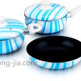 Rainbow series silk printed aluminum non stick cookware set with aluminum cover and bakelite handle