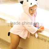 100% cotton breathable pink cow design baby bath robe/kids bath robes