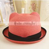 ladies Fashion mini top flower decorative straw hat custom natural straw hats with flower