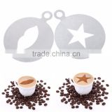 Amazon hotting Eco-Friendly Cafe Foam Coffee Tools Durable Stainless Steel Coffee Templates Barista Stencils