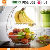 WI2915 Wire Fruit Bowl Holder Display Basket with Banana Hanger Hook
