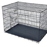 Folding heavy duty wire tube dog cage with wheels for large dogs