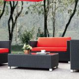 Outdoor Sofa Set Double Seat Alu Frame 10cm Cushion Axvision Fabric Garden