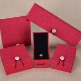 Linen Fabric Covered Wooden Jewelry Box with Button Insert Ring Boxes Bracelet Gift Box Pendant Case