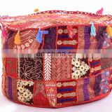 Round Traditional Footstool Cover Indian Patchwork Embroidery Design Ottoman Pouf Cover