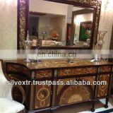 Galleria Carved Sheesham Mirror with leafing and console with inlay