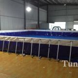 Metal Frame Swimming Pool For Backyard , Square Above Ground Pool With Cover