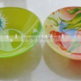 Different size and different shapes glass bowl with decal