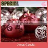 Red with glitter printing Christmas ball candle decorations