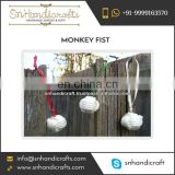 Colorful Stones Sparkling Shine Monkey Fist Nautical Rope Keychain