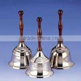 Silver plated brass hand bell with bronze handle