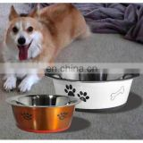 stainless steel round coloured dog bowl / pet water bowl
