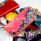 2014 New arrival high quality many colors women pu leather wallet with crystal