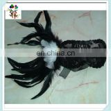 Sexy Venetian Masquerade Ball Black Feather Lace Masks HPC-0478