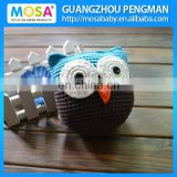 Crochet Animal Stuffed Toy Baby Shower Gift OWL Knit Doll Blue Brown With White Big Eyes