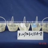 <b>Light</b> <b>yellow</b> paper <b>rope</b> wire small gift basket with handle