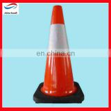 orange pvc road traffic cone with reflective tape