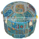 Buy Indian Bohemian Patchwork pouf cover Vintage Indian Foot Stool Bean Bag Floor Pillow pouf