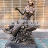 Casting Beautiful Nude Bronze Mermaid Statue for Sale