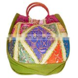 CANE HANDLE ETHNIC CANVAS SHOULDER BAG