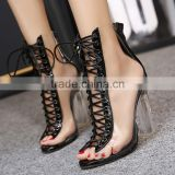 B22410A Ladies Sexy ankle shoes bandage hollow-out high-heeled sandals