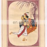 Mughal Harem Erotic Scene Indian Hand Painted Water Colot Paper Painting Wall Decor Painting