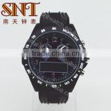 Fashion sport <b>watch</b> ana-digital <b>watch</b> with <b>black</b> <b>strap</b> and dial