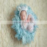 Newborn knit romper Baby outfit onesie photography props Mohair ruffle bonnet Knitted pant photo props