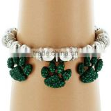 "Green Crystal Accents 0.5"" * 0.75"" Paw Print Charm Beaded Stretch Bracelet"