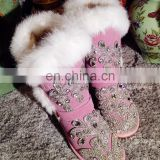 Aidocrystal 2016 Classic Tall Bling Brown Pink Snow Boots For Girls And Women