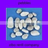Lots of Natural Pebbles Park Decoration Flat White Polished River Colored Glass Stones