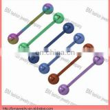 Anodized titanium tongue barbell ring body piercing jewelry