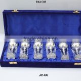 Silver plated brass Goblets with emboss in blue velvet Box