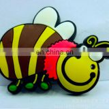 soft pvc cute yellow bee shaped rubber magnet for fridge decor