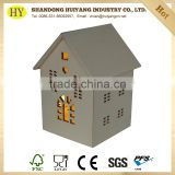 house shaped custom unfinished LED wooden lantern