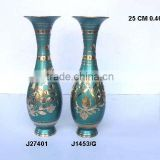 Traditional Indian Vases made in Cast Brass and green enamel