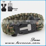 best paracord survival bracelet outdoor camping 4 in 1 flint fire starter whistle